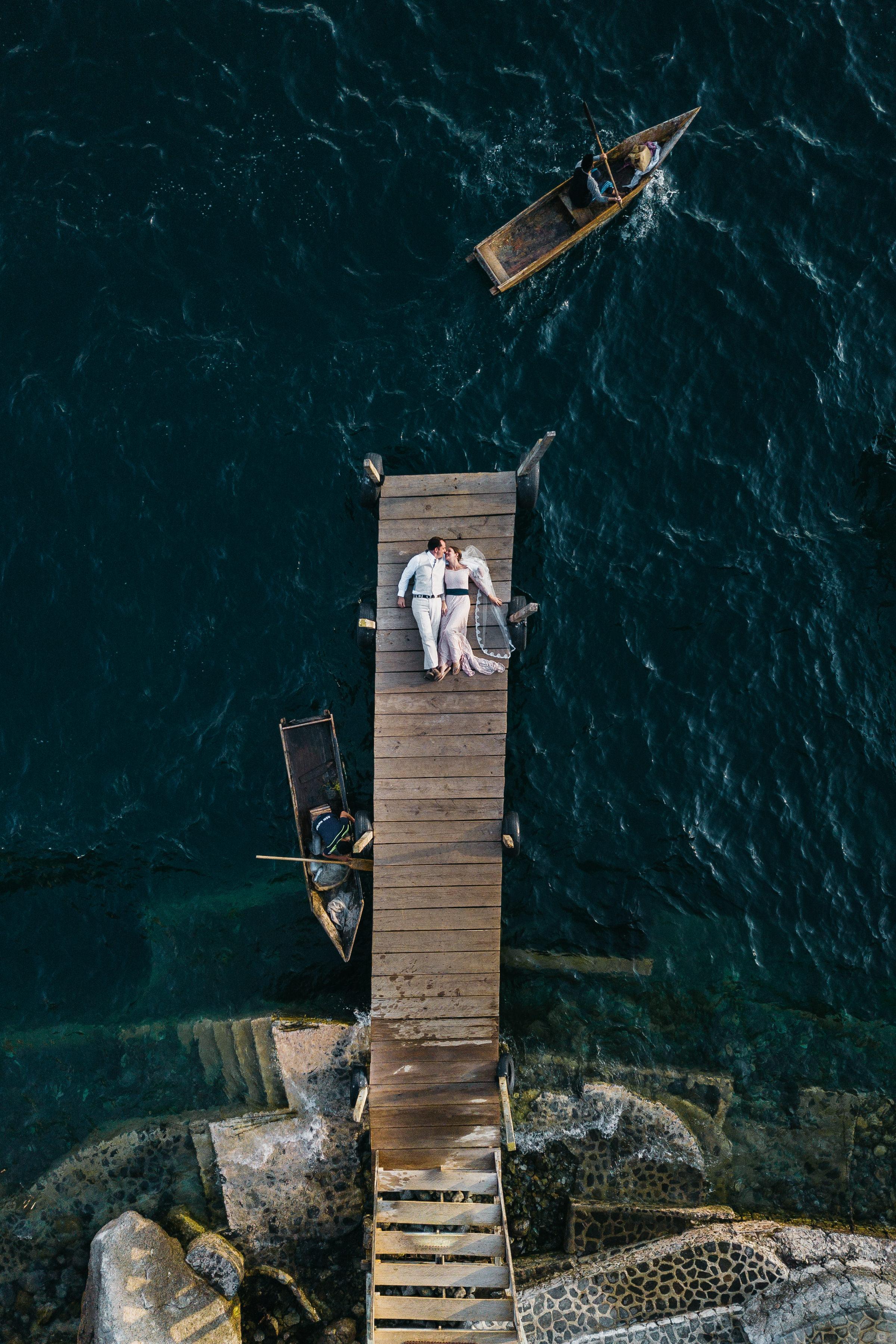 Drone Wedding Photo at Dock on Lake Atitlan Guatemala