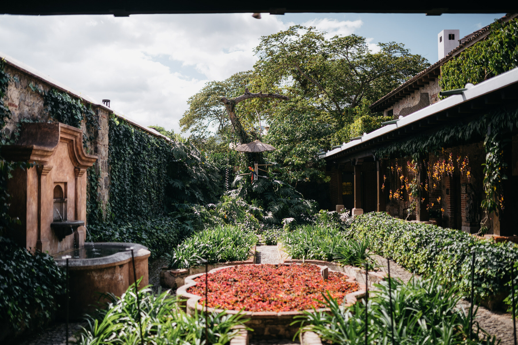 Welcome Garden at Hotel Casa Santo Domingo in Antigua Guatemala