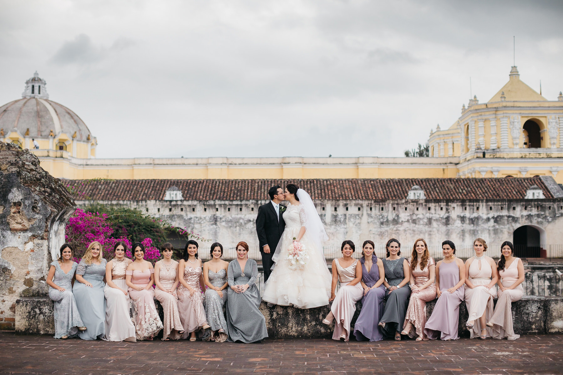 Bridal Party at Ruins of La Merced in Antigua Guatemala