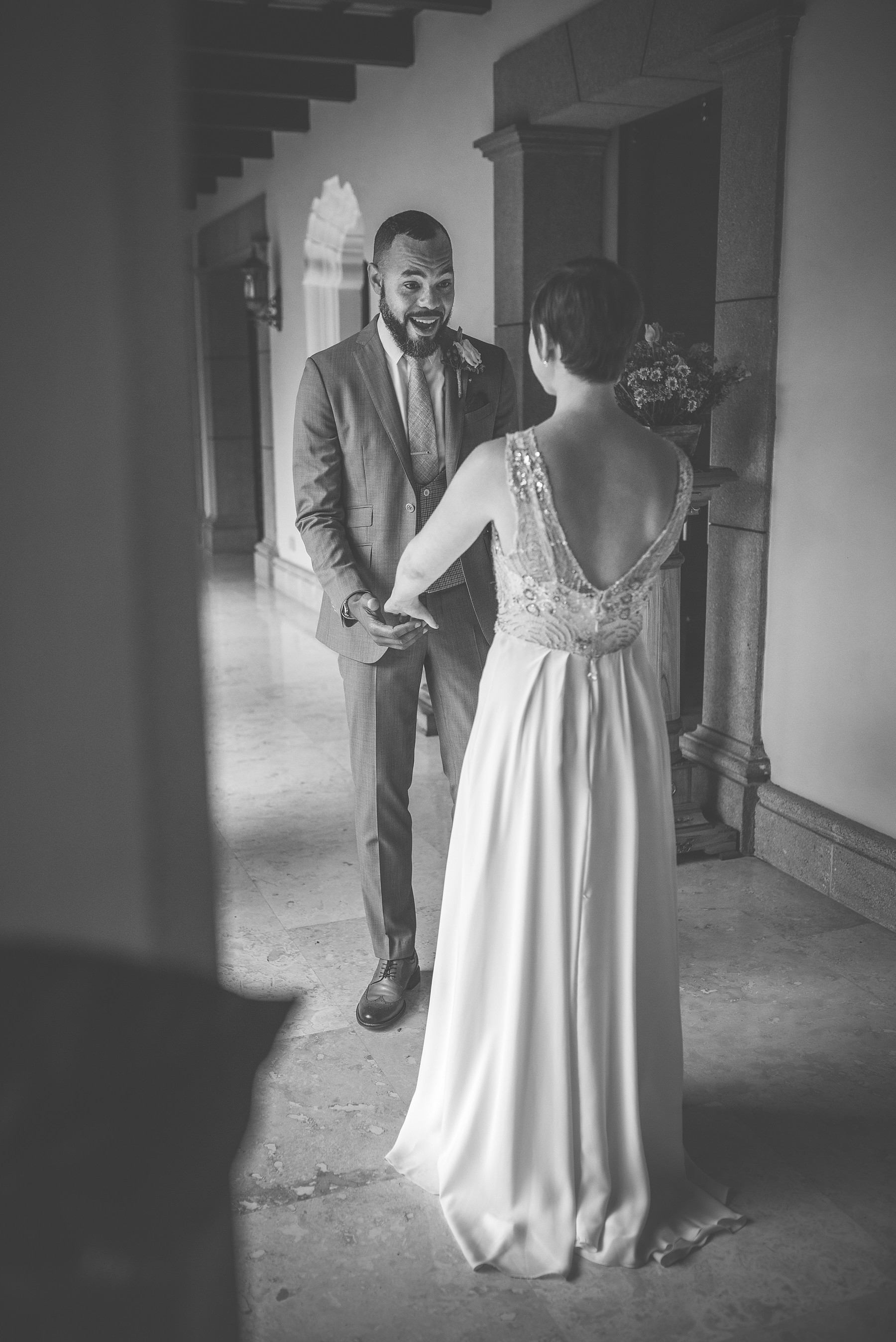 Groom seeing his bride on their first look in Antigua Guatemala