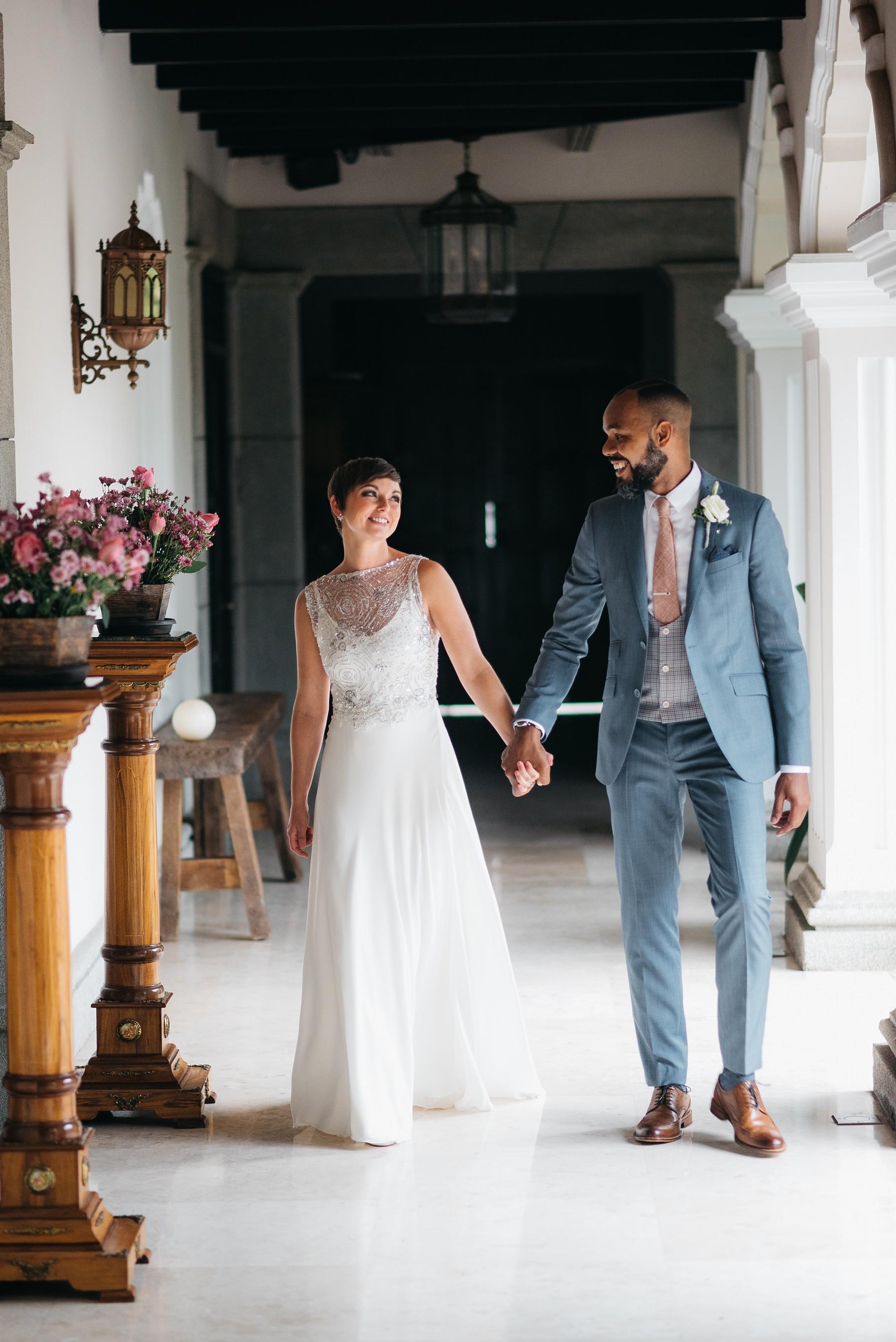 Married couple walking at Pensativo Hotel in Antigua Guatemala