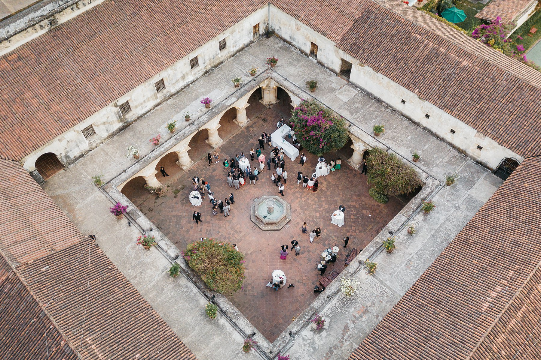 Drone shot of wedding at convento de capuchinas